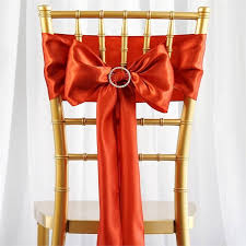 wedding chair bows 5 pcs burnt orange satin chair sashes tie bows catering wedding