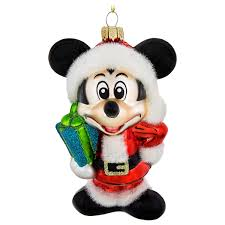 santa mickey mouse glass ornament shopdisney