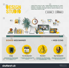 flat web design template one page stock vector 402374659