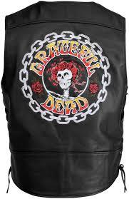 leather motorcycle vest river road grateful dead color logo leather motorcycle vest