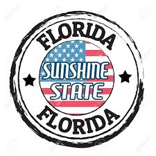 Florida Flag History Grunge Rubber Stamp With Flag And The Text Florida Sunshine