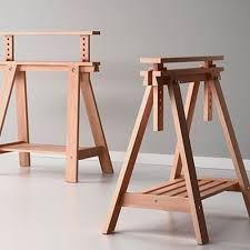 Ikea Sawhorse Desk Beech Wood Desk Table Leg Trestle With Shelf Height And Angle