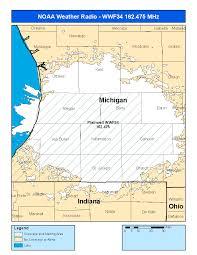 Michigan Area Codes Map by Noaa Weather Radio Wwf34