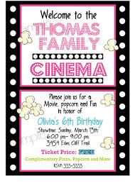 Invitation Birthday Party Card Movie Night Birthday Party Invitations Movie And Popcorn