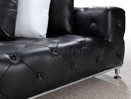 Black Tufted Sofa by Button Tufted Leather Modern Sectional Sofa W Steel Legs