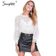 simplee elegant floral lace blouse shirt women lantern sleeve