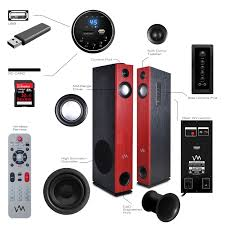 f d home theater system vm audio exat11 black floorstanding powered bluetooth home tower