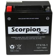 ytx16 bs 1 battery scorpion 12 volt motorcycle batteries