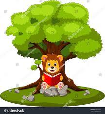 vector illustration cartoon lion reading book stock vector