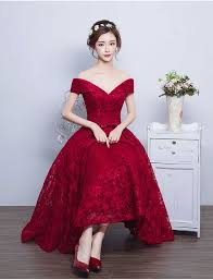 tea length lace vintage burgundy evening gowns off the shoulder