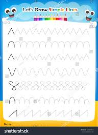 lets draw simple lines printable worksheet stock vector 226469515