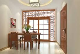 chinese dining room 3d design rendering retro wooden fence