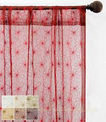 Bright Red Sheer Curtains Appealing Red Sheer Curtains And Embroidery Yarn Patterned Red