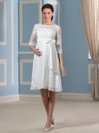 maternity wedding dress knee length lace empire waist maternity wedding dress