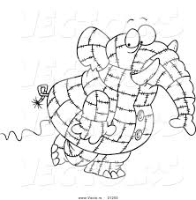 vector of a cartoon patchwork elephant coloring page outline by