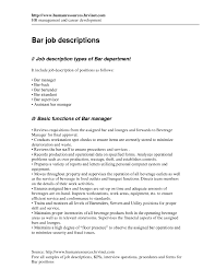 Waitress Job Duties Resume by 100 Bartender Resume Cover Letter Cold Contact Cover Letter