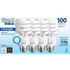 100w cfl light bulbs great value light bulb 23w 100w equivalent spiral cfl daylight