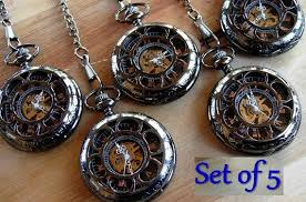 wedding gift groomsmen set of 5 pocket watches with chains personalized engravable