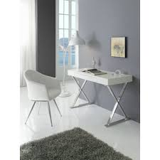 bureau laqué blanc design bureau 1 tiroir en mdf laqué blanc et pieds en acier jeffrey