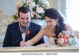 registering for wedding registration marriage registry office happy wedding stock photo