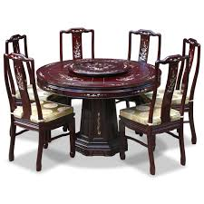 rosewood mother of pearl design round dining table with 6 chairs
