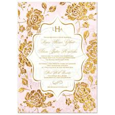 wedding invitation vintage floral blush pink ivory gold leaf