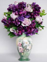 artificial flower home decor silk flower arrangement pink roses purple blossoms handpainted