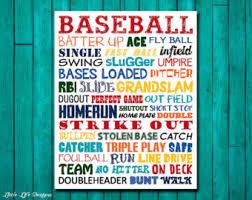 Baseball Wall Art Etsy - Kids sports room decor