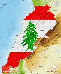 Outside Flag Flag Map Of Lebanon Physical Outside