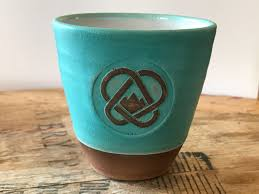 handmade ceramic mug w o handle blue carabiner coffee