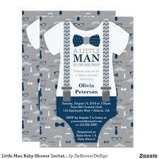 little man baby shower invitation navy blue gray baby shower