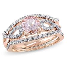 pink morganite 99ctw pink morganite and white diamond 10k gold 3 ring