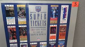 mounted print of 25 years of super bowl tickets 18x24