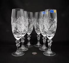 amazon com 6 russian cut crystal champagne glasses on a stem