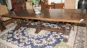 Refectory Dining Tables 10ft Mead Oak Trestle Refectory Dining Table Kitchen Ebay
