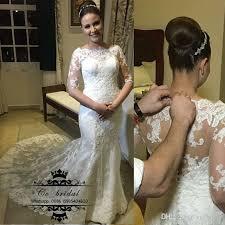 custom made wedding dresses uk boat neck ivory mermaid wedding dresses with half sleeve