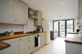 galley kitchen extension ideas terraced small kitchen with doors and table at end