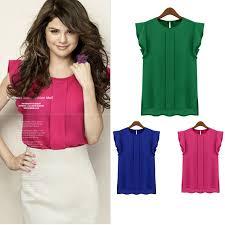 green chiffon blouse 2014 fashion butterfly sleeve chiffon blouse ol ruffles