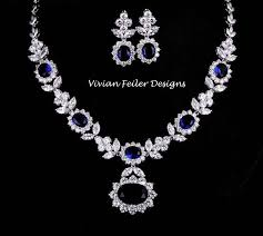 blue sapphire necklace set images Blue sapphire bridal jewelry set wedding necklace and earrings jpg