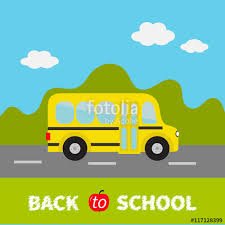 yellow school green grass and road clipart