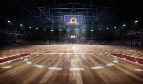 Arena Lights Professional Basketball Court Arena In Lights With Fans 3d