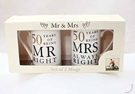 50th anniversary gifts 50th anniversary gift set of 2 china mugs mr right