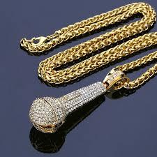 aliexpress buy nyuk gold rings bling gem nyuk new fashion microphone pendants necklace gold of