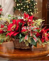 poinsettia and evergreen silk centerpiece for holiday and