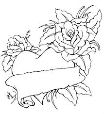 heart bow coloring pages coloring pages of roses and hearts
