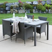Outdoor Dining Room Walker Edison Furniture Company Gray Rattan 5 Piece Outdoor Dining
