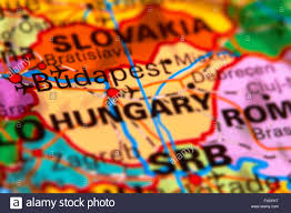 Budapest Hungary Map Budapest Capital City Of Hungary On The World Map Stock Photo