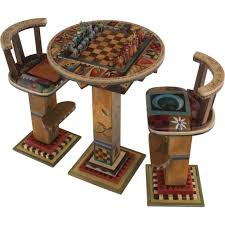 Designer Chess Sets by Sticks Fliptop Bar Height Game Table With Two Stools And Standard