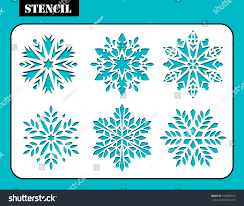 stencil design set christmas snowflakes laser stock vector