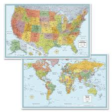 Usa Wall Map by Rand Mcnally M Series Full Color U S And World Maps Paper 32 X
